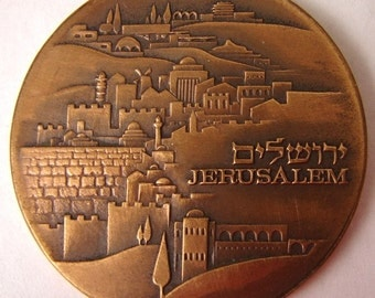 KNESSET JERUSALEM MEDAL Israel Mint Knesset Building and Jerusalem Skyline Tombac medal