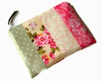 Pink Yellow Green Zippered Cosmetic Bag - Green Pink Pouch - Zippered Pouch