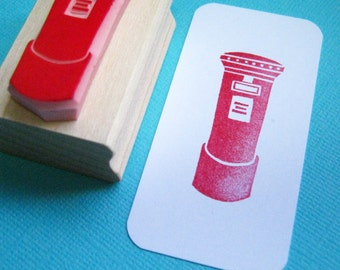 British Post Box Hand Carved Rubber Stamp - Postal Stamper - British Gift - British Wedding - Invites - Snail Mail - Letter Box