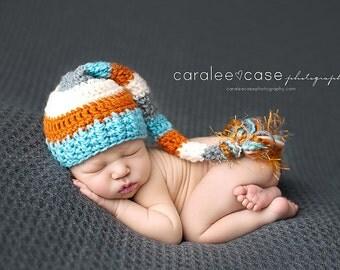 Elf Hat in Aqua, Orange, Cream, and Grey  with Fringe Tail
