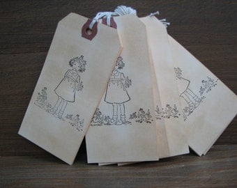 Handmade - Hand Crafted - Tags - Set of 6 - Gift Tags  - Birthday - Vintage Look - Little Girl - Supplies