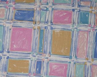 Vintage House and Home Fabric Pastel Blocks 1 Generous Yard