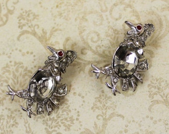 Pair of Vintage Art Deco Rhinestone Bird Brooches