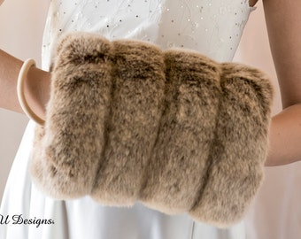 Frosted light brown grooved Super Size faux fur muff hand warmer Winter wedding