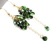 Green Earrings, Green CZ Cluster Earrings, CZ Dangle Earrings, Emerald Green CZ Drop Earrings, 14K Gold Filled, Cascade