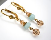 Aqua Blue Dangle Earrings, Amazonite Dangle Earrings, Swarovski Crystals Dangle, Vermeil Dangle Earrings, Drop, Stone, SKU 2917