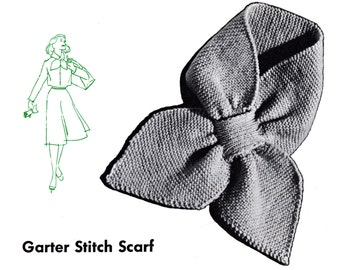 1950 Keyhole Scarf Stay Put Scarf Knit Pattern Digital Download
