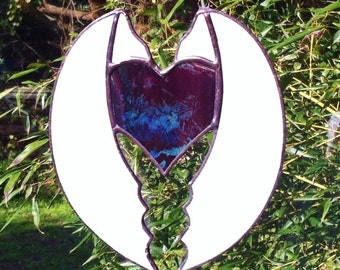 One of a kind Original Iridescent Purple Stained Glass Heart Sun Catcher wrapped in Angel Wings!