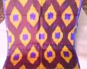 Purple Lightweight, Natural Silk Scarf- Uzbek Ikat. 100% Natural silk!