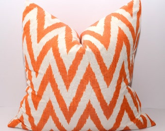 20x20, ikat pillow cover, chevron, pillow, cushion, chevron pillow cover, orange, orange chevron, cream