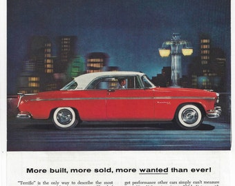 Vintage CHRYSLER Automobile Ad, July 1955 National Geographic Original Color Illustration