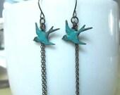 Green patina bird with antique bronze chain dangle earring