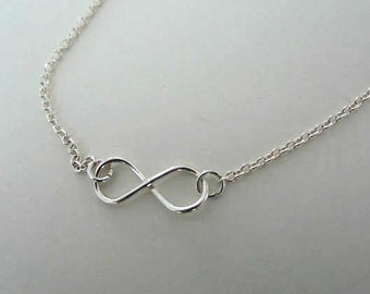 Infinity charm sterling silver necklace