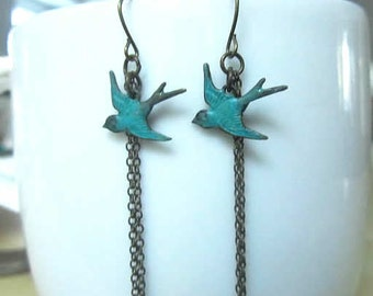 Reserve - sterling silver Green patina bird with antique bronze chain dangle earring