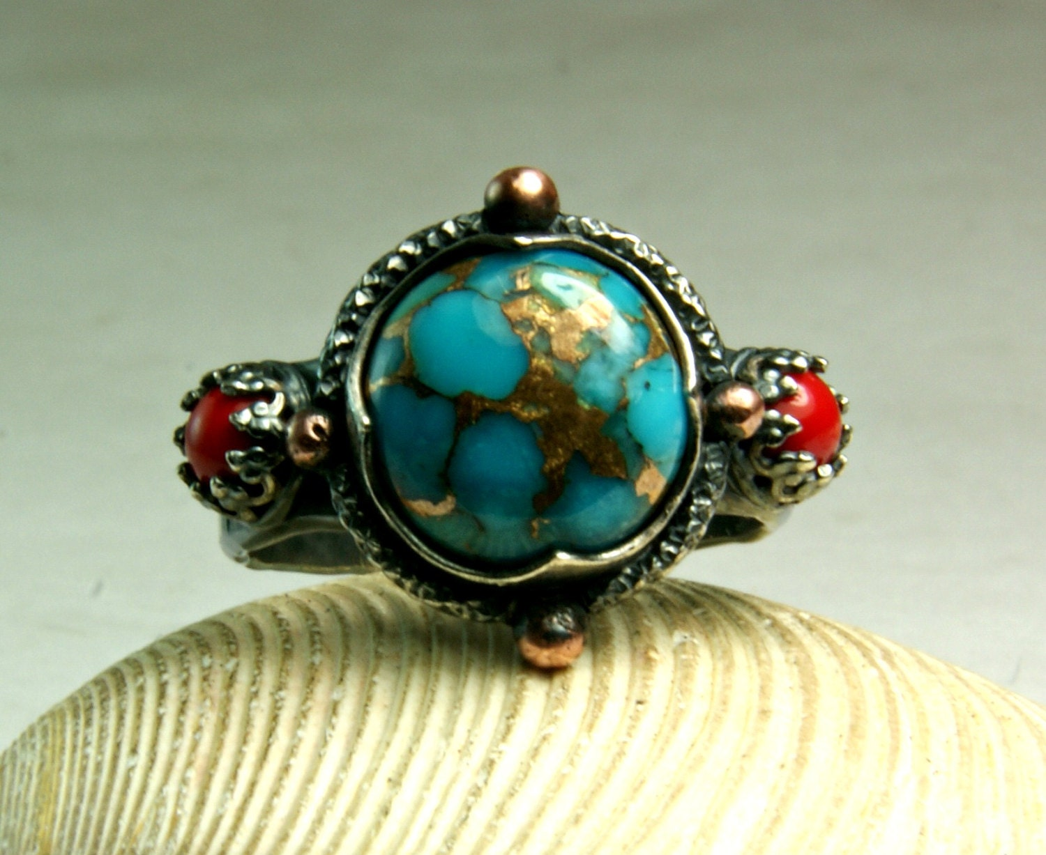 compass ring genuine turquoise jewelry copper turquoise