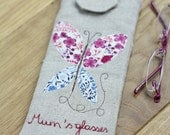 Eyeglasses Case from Vintage Linen - Butterfly