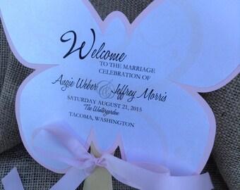 Butterfly Shaped Wedding Fan Favor Program