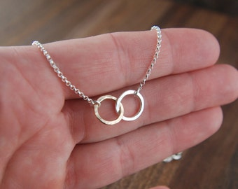 Small sterling silver and gold filled hammered circle links and sterling silver necklace, hammered rings, mixed metals, gold and silver