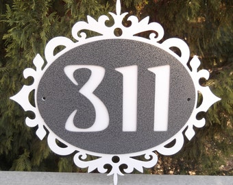 Decorative scroll Address sign, street number, house number, Metal art, Name plate, Name plaque, Home address plaque, custom address sign