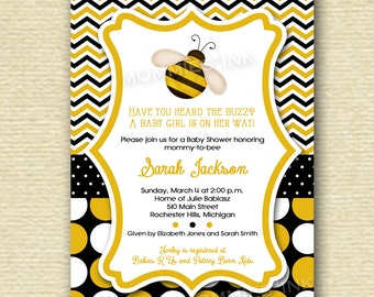 Bumblebee Baby Shower Invitation, Yellow and Black Chevron, Baby Shower Invite, Bee Baby Shower, What'll It Bee Invitation, DIY, Printable