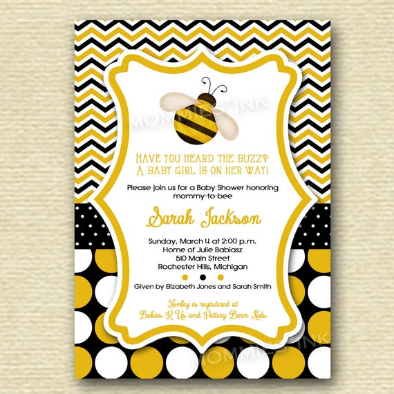 Bumblebee Baby Shower Invitation Yellow And Black Chevron