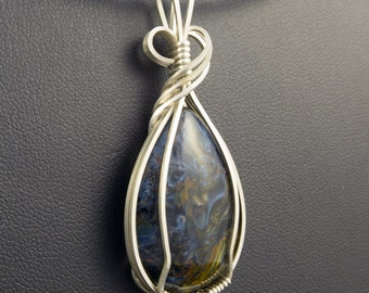 Pietersite Pendant Wrapped in Sterling Sliver Wire
