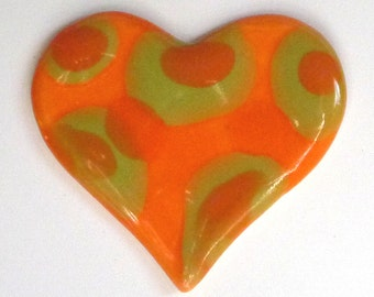 Bright Orange Heart  Brooch with Lime Green and orange  Polka Dots