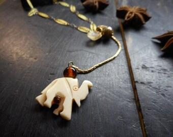 GANESHA. Carved White Bone Elephant, and Gemstone totem animal spirit art necklace talisman. Black tourmaline, quartz & Czech glass. OOAK