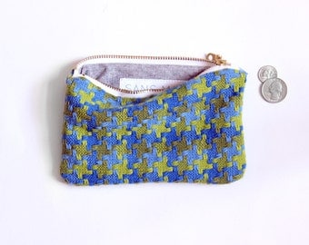 Houndstooth vintage fabric zippered pouch, organic zipper