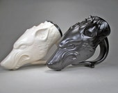 Pair of Dire Wolf Mugs,One Black, One White, for Wolf Lovers, Handcrafted Fantasy Art, Renfest Costume Mug, Stoneware Pottery