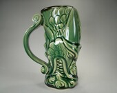 Green Dragon Head Beer Stein, A Firebreathing Dragon Mug, Handcrafted Stoneware Sci Fi Fantasy Art for Renaissance Festivals, Gamers' Mug
