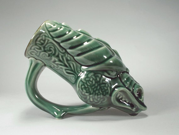 Celtic Dragon Beer Mug -- Rhyton/ Drinking Horn Style-- Emerald Green Glaze (SMALL 16oz) Renaissance, Celtic & Fantasy Festival Mug, Gift