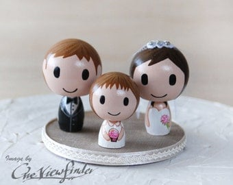 Customise Wedding Cake Topper with flower girl or with 1 child