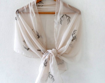 Wide Antler Scarf  , woodland cotton yemeni  scarf, hand stamped lightweight scarf, spring fashion, wedding accessory