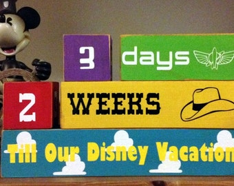 The ORIGINIAL Disney Toy Story Vacation Countdown Wooden Block Set for Weeks and Days