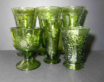 6 Avocado Green Glass Vases. Grape Harvest Vases, Goblet, Candle Holder, Candy Dish. Vintage 4827