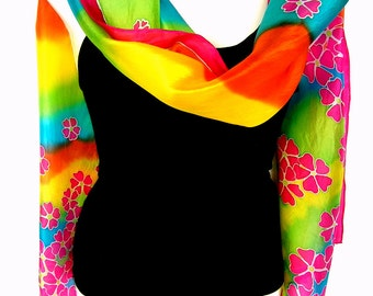 """Silk Scarf, Hand Painted Silk Scarf, Rainbow, Multicolor, Bright, Floral Silk Scarf, 71"""" x 18"""", Gift For Her"""