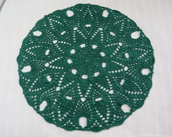 Forest Green Doily-12 inch Doily-Pineapple Doily-Green Doily-Christmas Holiday Doily-Hand Crocheted Cotton Doily-Cindy's Loft