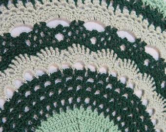 Green Doily-12.5 inch Doily-Shades of Green Doily-Hand Crocheted Cotton Doily-Cindy's Loft