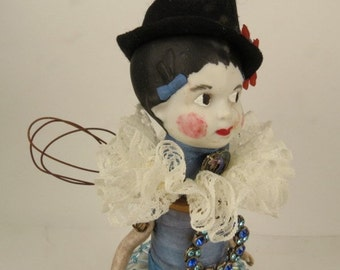"Assemblage Angel, Art Doll, ""Grandma's Attic"" Country Blue Assemblage Art Doll"