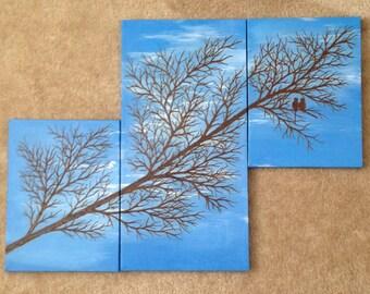 Original Painting, Tree Painting with Henna, Handpainted - OOAK, Original Global Art