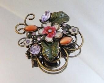 Vintage Lavender Flower Brooch.  Rhinestones. Enamel.  Orange Cat's Eye Moonglow Pin.