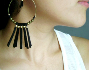 Bohemian earrings Black long vegan suede boho earrings. Boho chic Long earrings light earrings