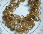 LUXE AAA Gold Rutilated Quartz Kisses  Faceted Pear Shape Briolettes  1/4 Strand