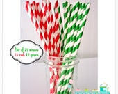 25 Striped Paper Straws, Holly Jolly, Party Straws, Party Favors, Red Straws, Green Straws - FiddleSticksBoutique