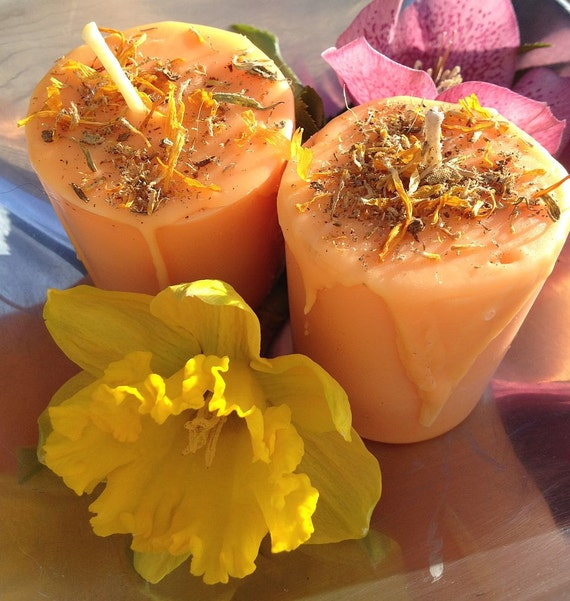 Ritual Candles - Two (2) Lift Me Up Orange Happiness Votives Soy Blend