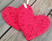 Red Heart Shaped Pot Holder - Great for Valentine's Day!