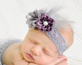 Feather elastic headband, grey headband, plum headband, flower girl headband, newborn photo prop, baby shower gift, feather headband, infant