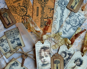 VINTAGE COLLAGE EPHEMERA Set A Art Journal Paper Goods Lot steampunk mixed media assemblage scrapbook altered book