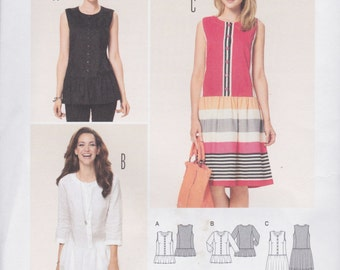 Burda Style Pattern 6912 Semi-Fitted Button Front Tunics and Dress with Dropped Waist & Gathered Skirt Sizes 8 - 20